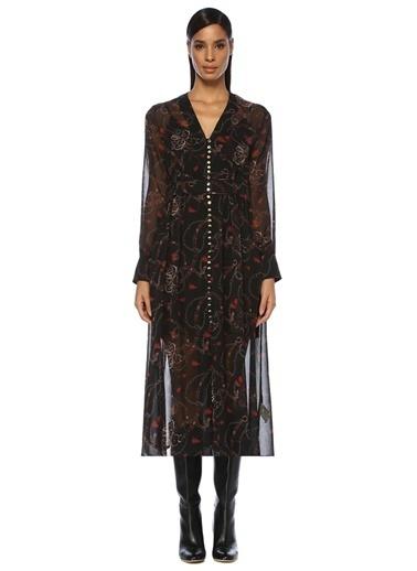 Beymen Club V Yaka Zincir Desenli Midi Şifon Elbise Siyah